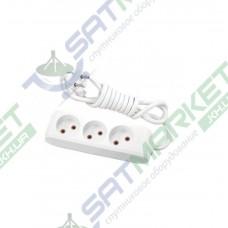 Удлинитель на 3 гнезда без заземления белый - 2м кабель Viko 90112302