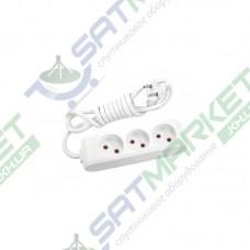 Удлинитель на 3 гнезда без заземления белый - 5м кабель Viko 90112305