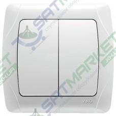 Выключатель 2-кл. белый ViKO Carmen 90561002